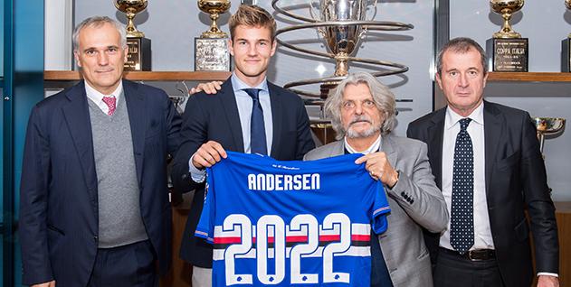 官方:桑普和22岁中卫安德森续约至2022年