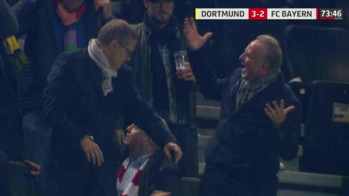 帕科进球后, 拜仁高层被多特球迷泼啤酒