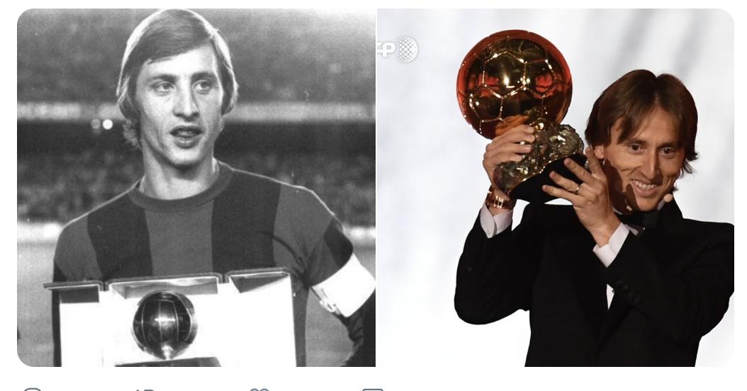 克鲁伊夫后首位,莫德里奇世界杯决赛折戟后仍得金球奖