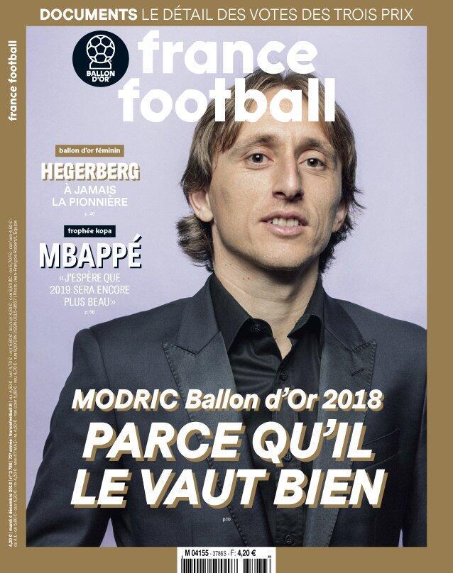 一图流:《法国足球》封面人物莫德里奇