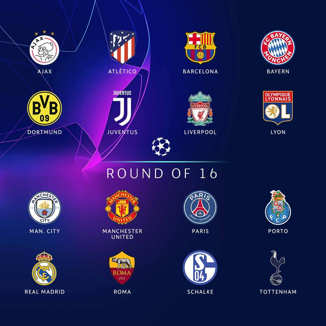 欧冠十六强全部产生,下周一将进行淘汰赛抽签