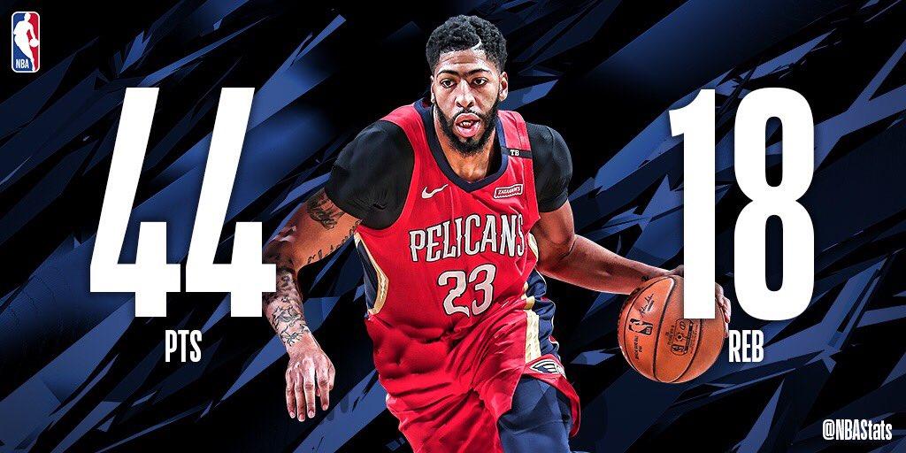 NBA官方评选今日最佳数据:戴维斯44+18当选