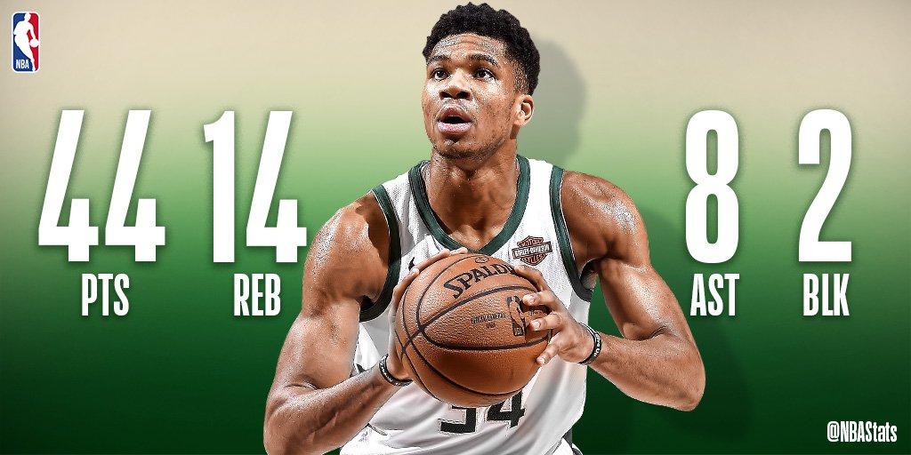 NBA官方评选今日最佳数据:字母哥44 14 8当选