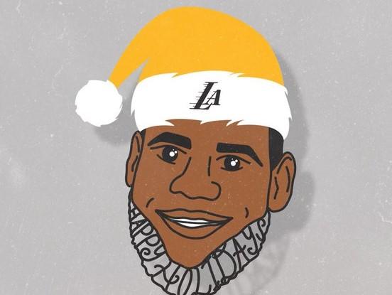 风格搞怪!湖人官方制作圣诞帽壁纸系列