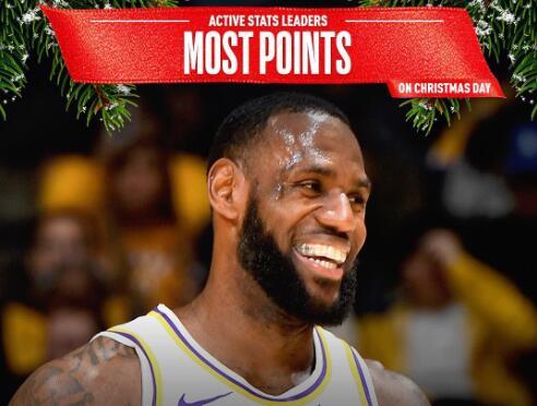 现役球员圣诞大战数据:LBJ总得分第一、KD场均得分最高