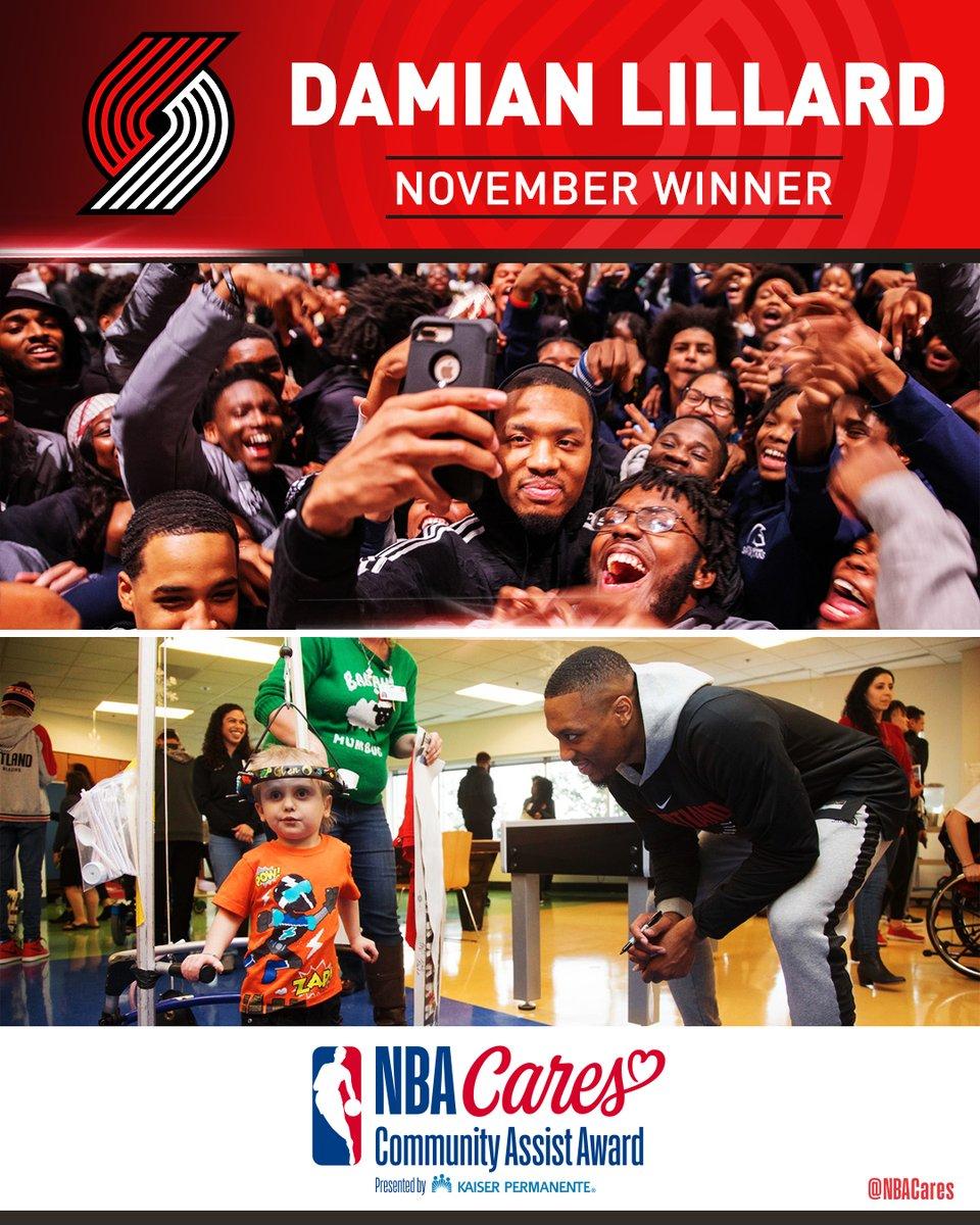 官方:利拉德荣获11月份NBA社区关怀声援奖
