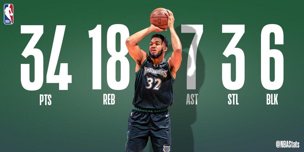 NBA官方评选今日最佳数据:唐斯34 18 7 6当选