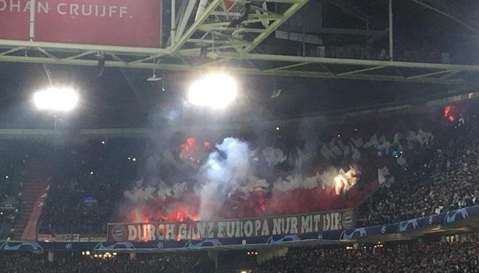 球迷在对阵阿贾克斯时燃放烟火,拜仁被罚8000欧