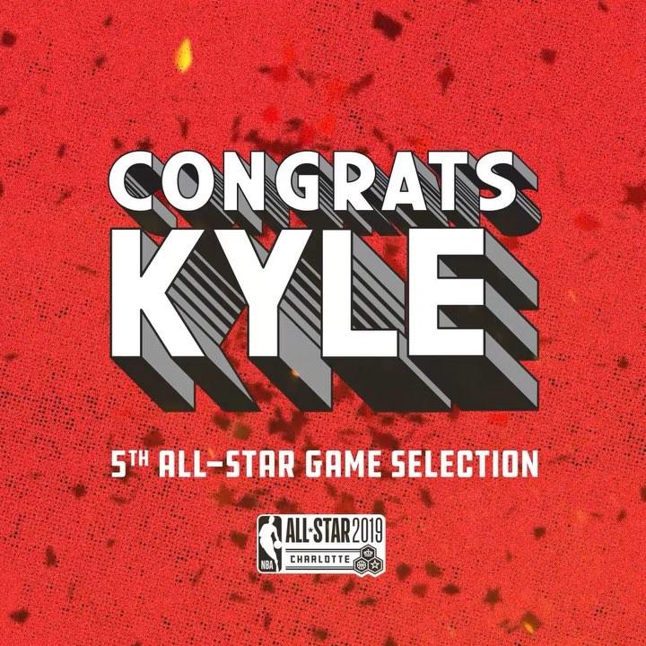 猛龙官方祝贺凯尔-洛瑞入选全明星正赛阵容