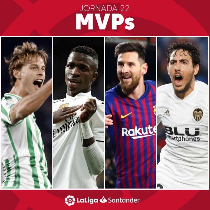 西甲公布第22轮最佳球员候选人:梅西、维尼修斯在列