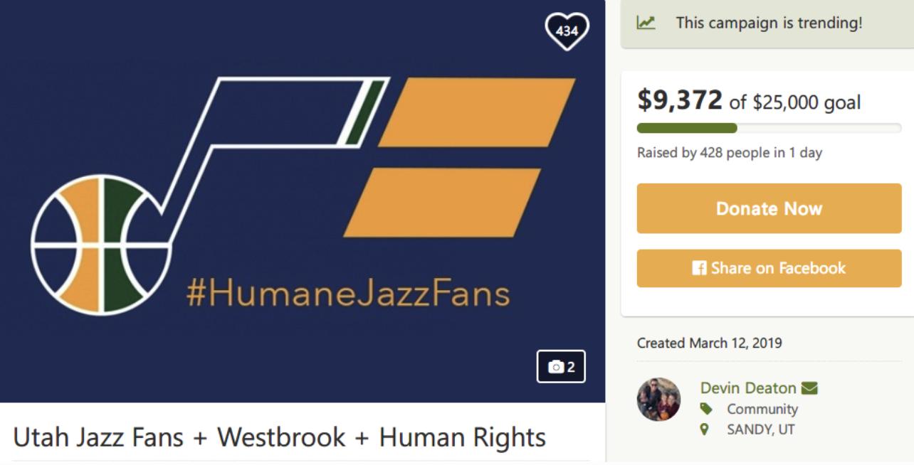 犹他当地铁杆球迷将众筹25000美元为爵士球迷正名
