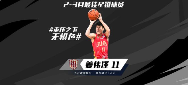 姜伟泽当选2-3月月度最佳星锐球员