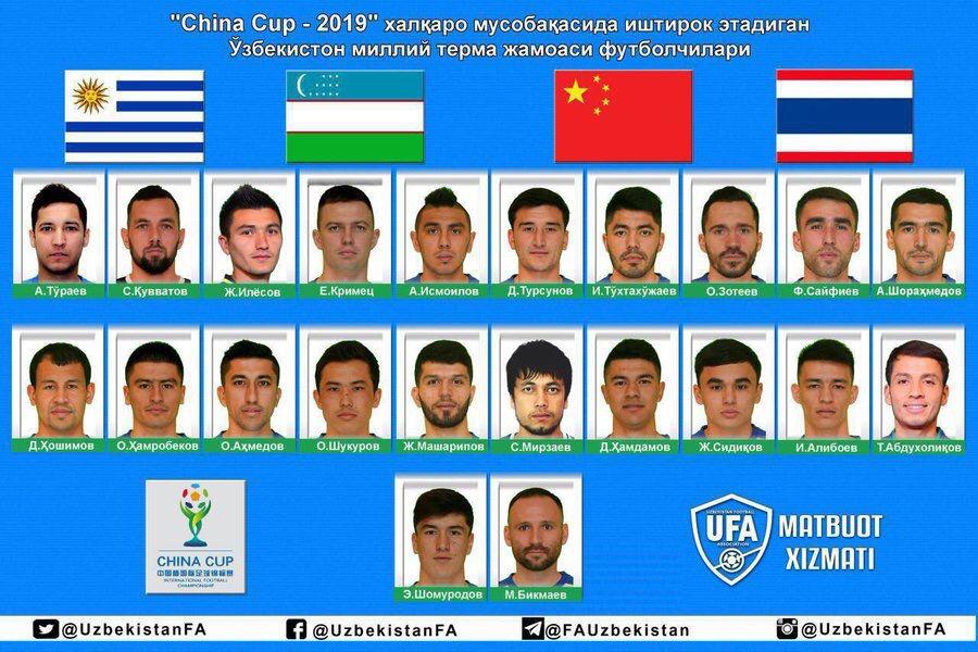 乌兹别克中国杯名单:艾哈迈多夫入选,两中超旧将在列
