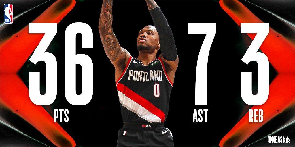 NBA官方评选今日最佳数据:利拉德砍下36 3 7成功当选