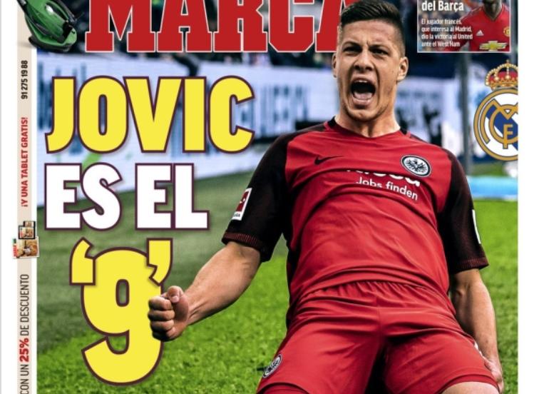 马卡报封面:如果买前锋,约维奇将是皇马的首选