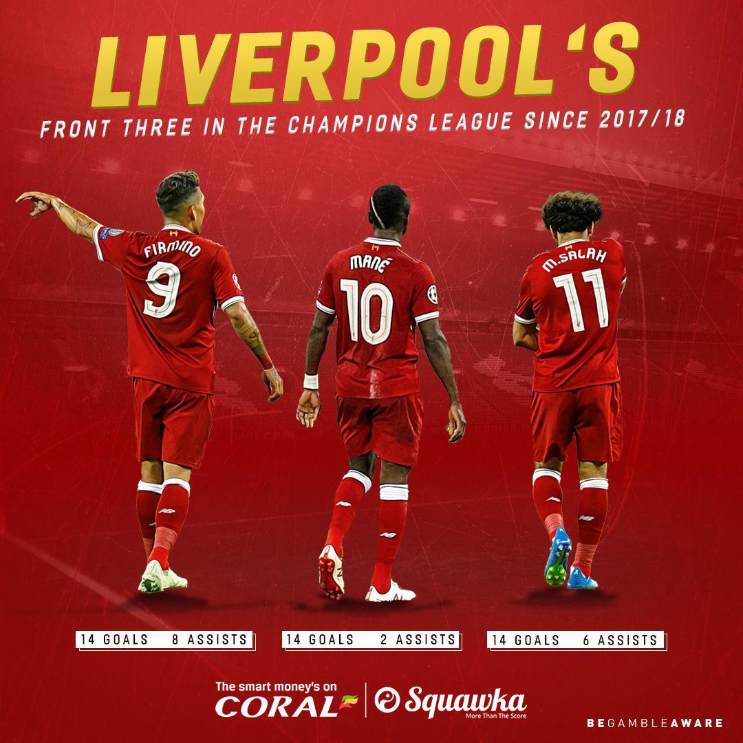 齐头并进!利物浦三叉戟两赛季欧冠进球均达14