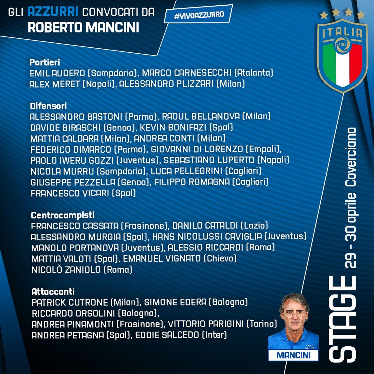 曼奇尼公布意大利35人集训名单:3名01年小将入选