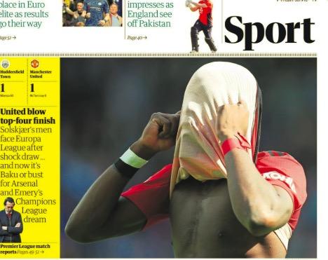 惨!曼联无缘下赛季欧冠登上英媒体育版头条