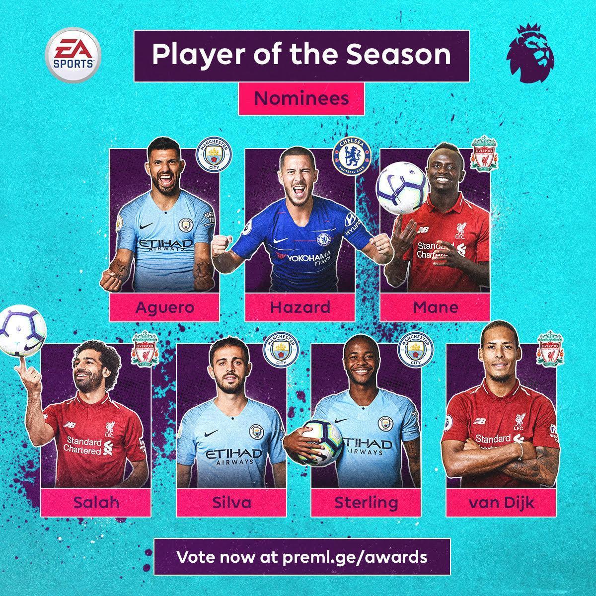 英超年度最佳球员候选:曼城利物浦各3人,外加阿扎尔