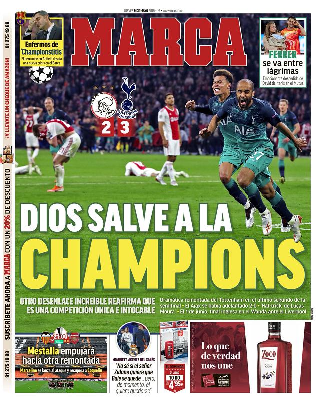 马卡报头版:上帝拯救了欧冠,又一场不可思议的逆转