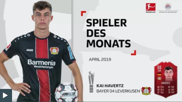 击败拜仁 3将, 哈弗茨当选德甲四月最佳