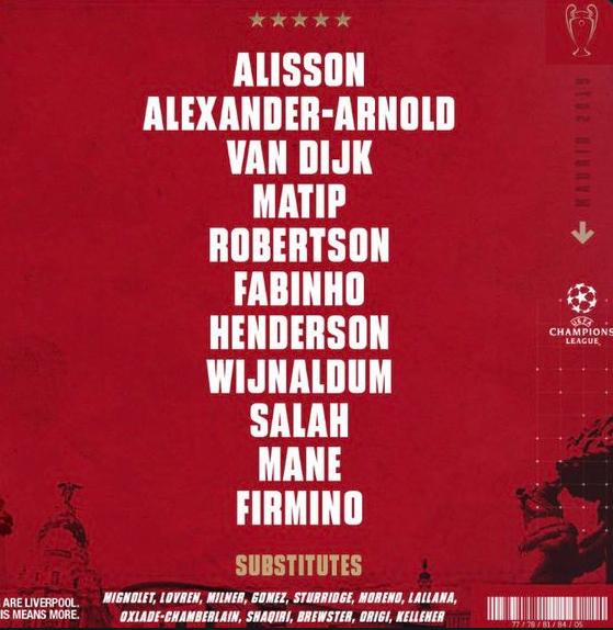 利物浦欧冠决赛首发:红军三叉戟全力出击