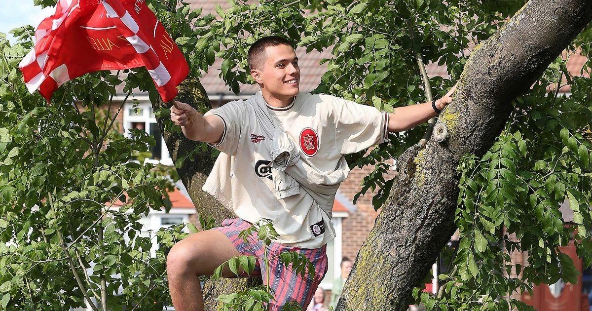 万人空巷,利物浦球迷上树观看夺冠巡游