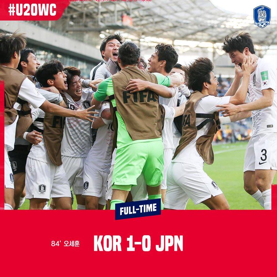 韩国绝杀日本晋级世青赛八强,法国阿根廷遭逆转出局