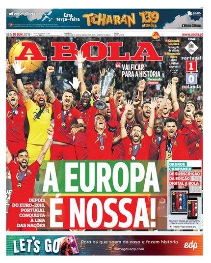 举国欢庆!C罗捧首欧国联奖杯一幕登上三大葡媒头版头条