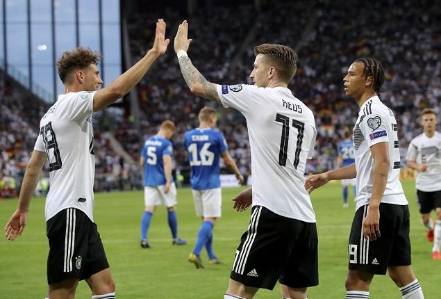 欧预赛:罗伊斯格纳布里齐双响,德国8-0大胜爱沙尼亚