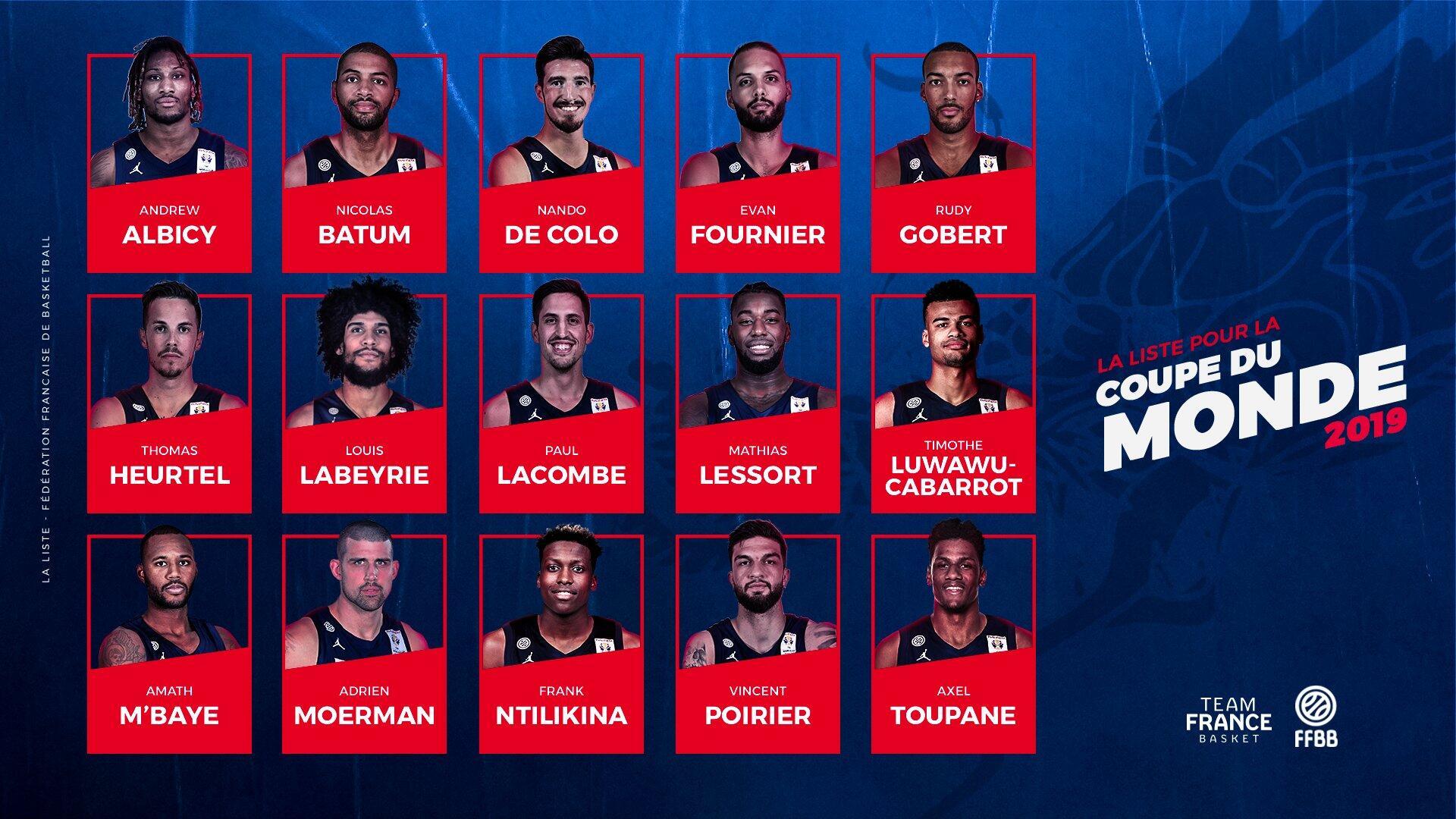 法国男篮公布15人训练营名单,戈贝尔、巴图姆领衔