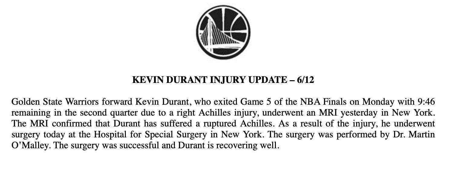 官方:勇士球员杜兰特遭遇跟腱断裂,已接受手术