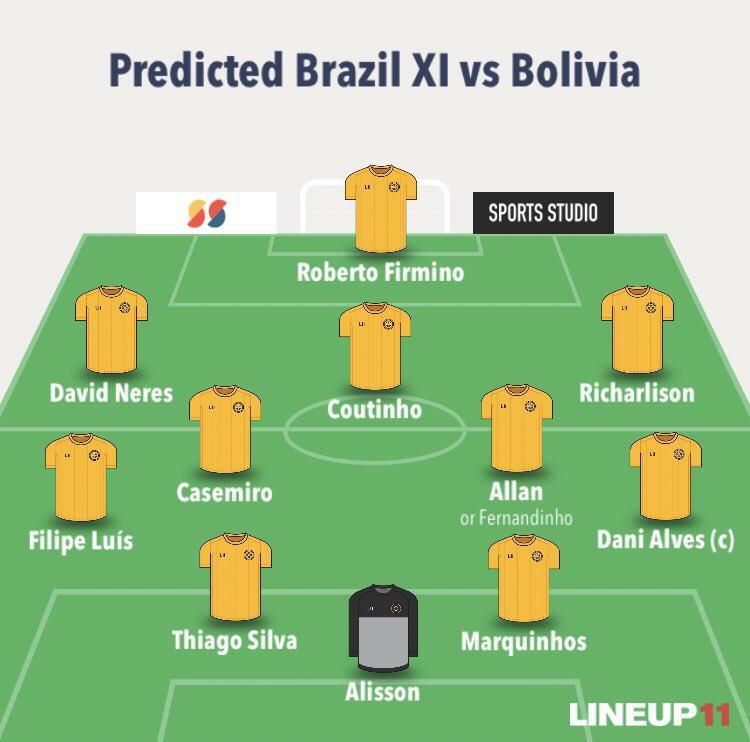 巴西队展望始发:内雷斯顶替内马尔,菲尔米诺突前