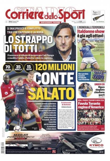 罗马体育报头版:买!国米为孔蒂准备了1.2亿欧