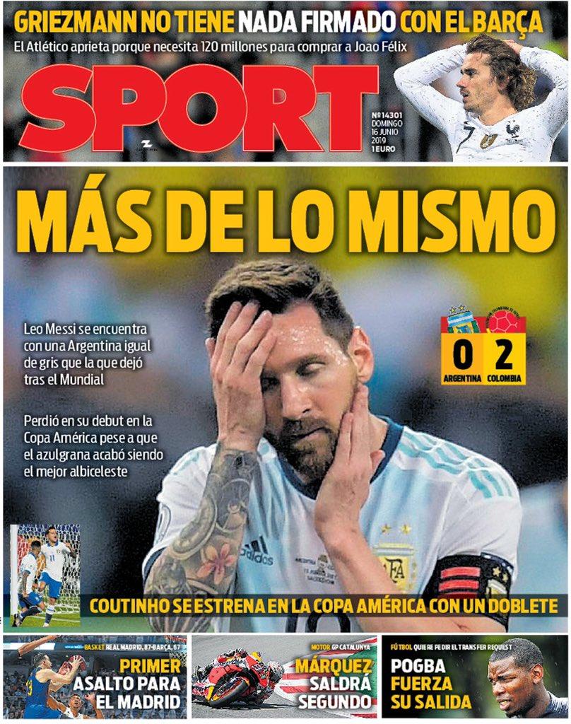 每体头版:还是老样子!梅西仍带着那支糟糕的阿根廷