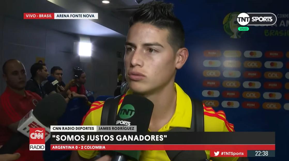 哈梅斯:哥伦比亚要戒骄戒躁,美洲杯刚开起呢