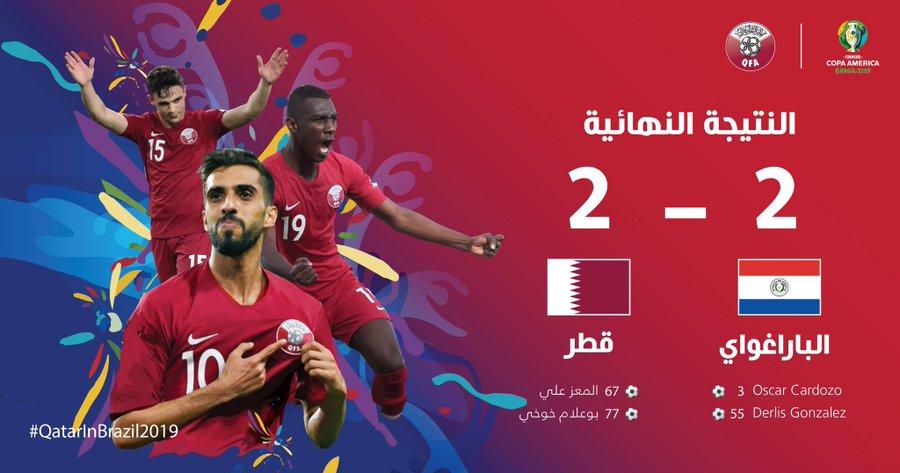世界波 团队协调进球,美洲杯卡塔尔2-2逼平巴拉圭