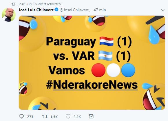 奇拉维特发推讽刺平局:巴拉圭战平了VAR