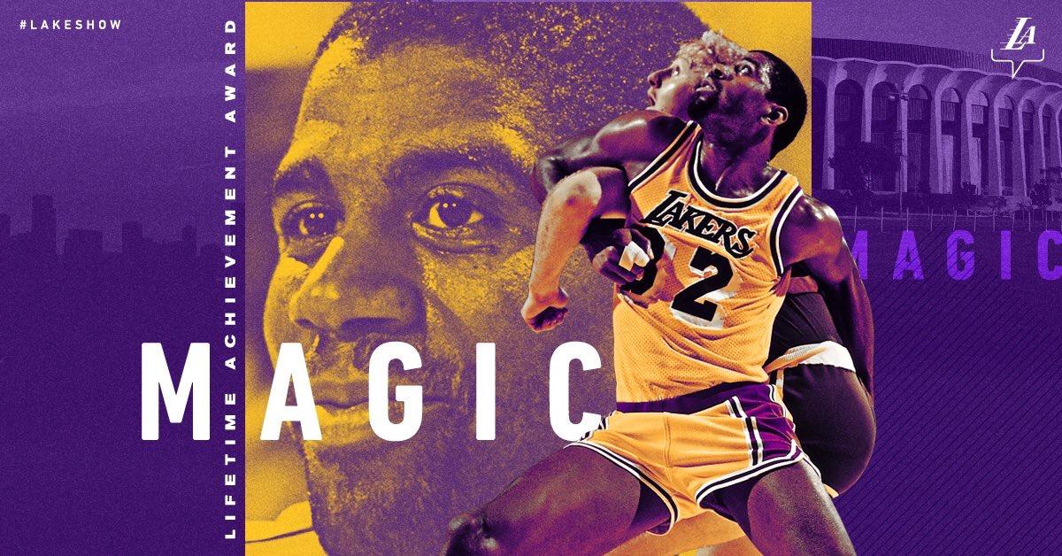 湖人官方制图祝贺魔术师荣获 NBA终身成就奖