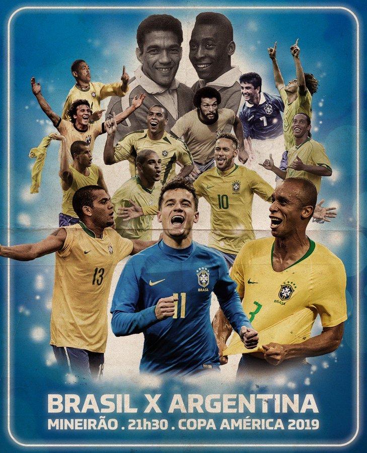 巴西发布巴阿大战海报:比赛举国关注,桑巴为历史而战