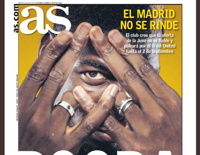 阿斯报封面:皇马会争取博格巴直到9月转会关窗