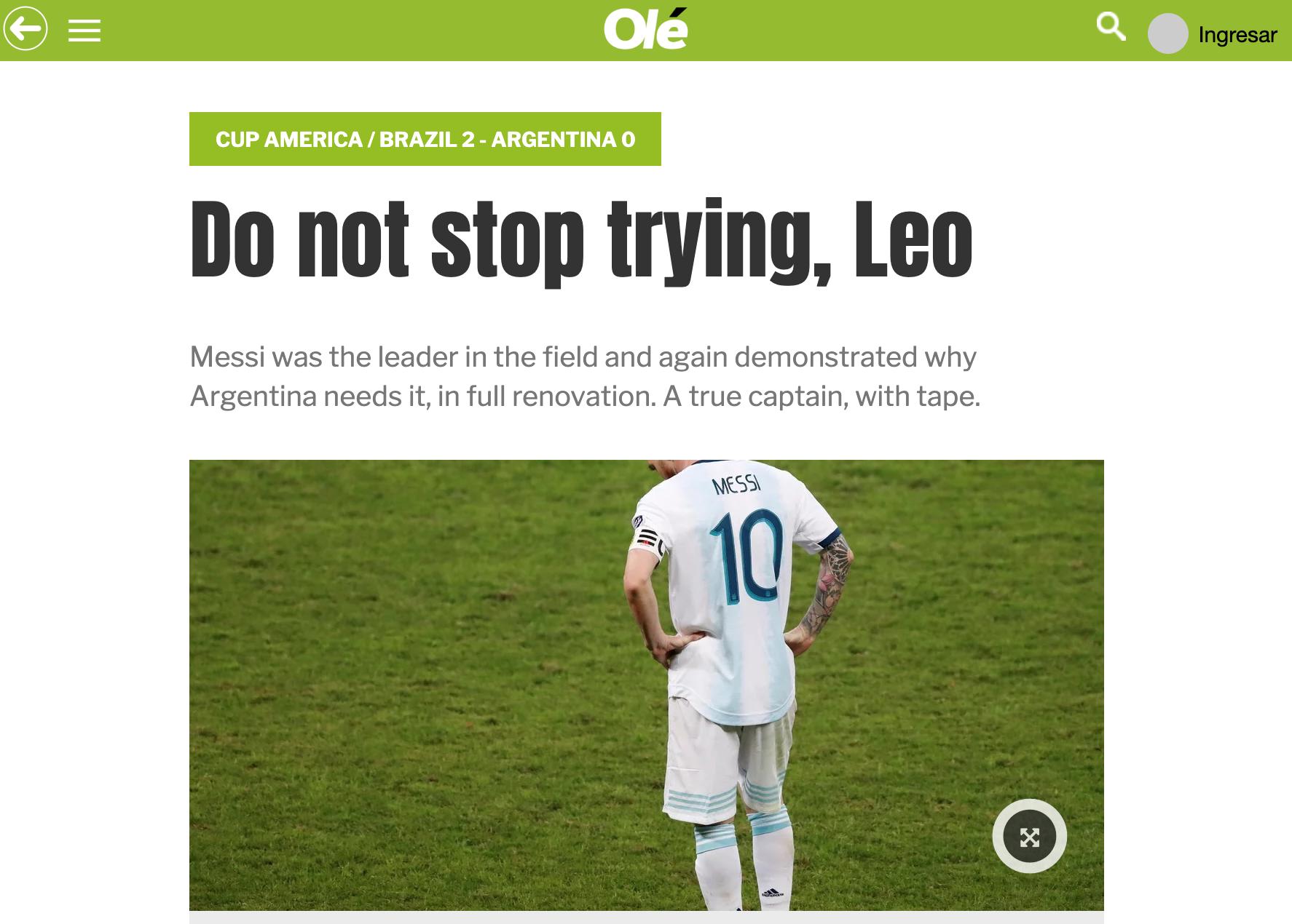 阿根廷媒体挺梅西:别放弃,你是场上的领袖和旗帜