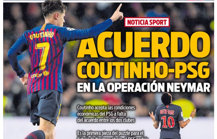 每体封面:库蒂尼奥与巴黎达成协议,将加入内马尔转会