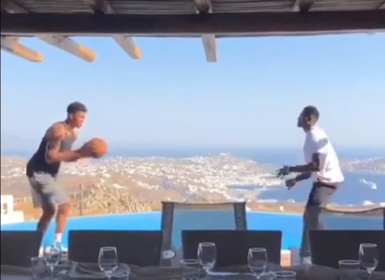[视频]美景配篮球!字母哥度假期间仍和兄弟一起训练