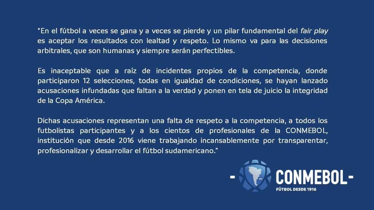 南美足联官方声明:对美洲杯的无端指责是对大家的不尊重