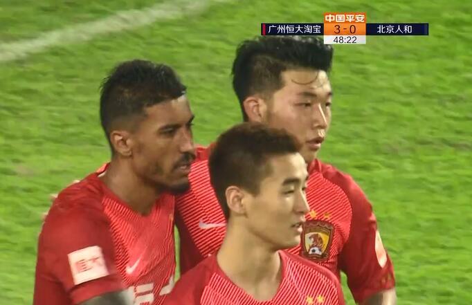 GIF:梅开二度!保利尼奥推射破门,恒大3-0人和