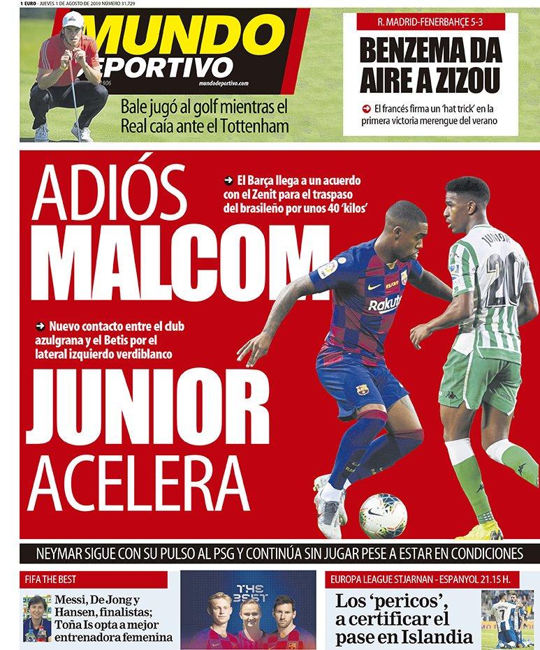 世体封面:再见马尔科姆,巴西人即将4000万欧加盟泽尼特