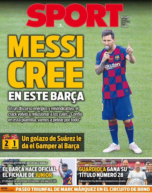 每体封面:梅西相信这支巴萨,他们会争夺一切冠军
