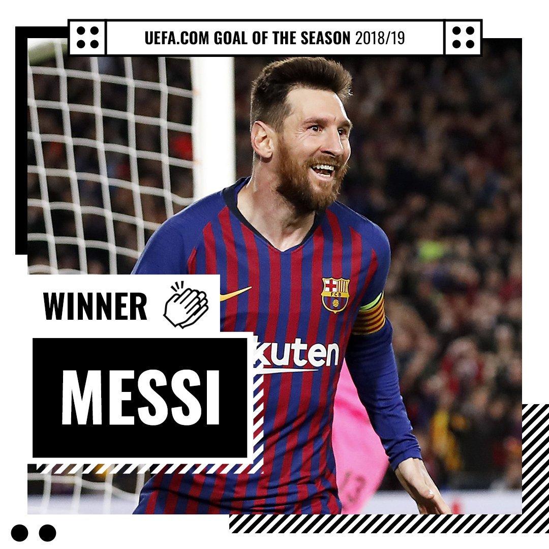 官方:梅西对利物浦的任意球当选欧足联上赛季最佳进球