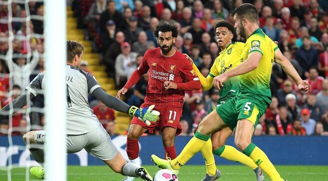 萨拉赫传射奥里吉造两球阿利松伤退,利物浦4-1诺维奇